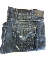 New TRUE RELIGION Men's BIG & TALL Blue Distressed Denim Boot-cut Jeans SZ:46x35