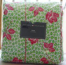 NEW Tommy Hilfiger Pamela leopard Rose Twin Comforter & Sham Set - Green / Pink