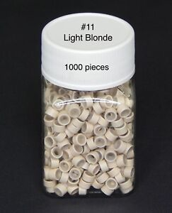 1000 Silicone Micro Link Rings Lined Beads for Hair Extensions Tool Light Blonde