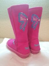 Sketcher Sparkle Glam Cozy bow sparkles gems cute pink Boots Girls Size 11