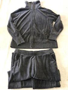White Stag Women's Track/Walking Suit Gray Velour Jacket & Pants Size L petite