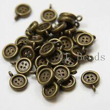 30pcs Antique Brass Tone Base Metal Charms-Button 9x13mm (14135Y-E-172B)
