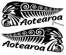 AOTEAROA NEW ZEALAND KIWI FERN WARRIOR STICKER PAIR BUMPER STICKER #2
