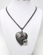 Large Floral Antique Silver Plated  Vintage Heart Locket Necklace