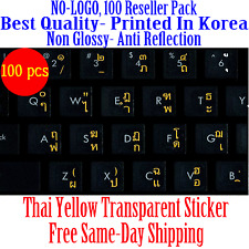 Thai Keyboard Sticker Yellow letters Transparent Reseller 100 Pack DEAL!!