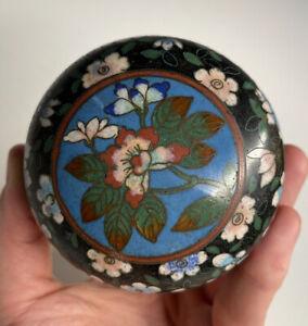 Antique Round Meiji Era Japanese Cloisonne 19th C. Enamel Box Floral