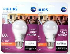 2 Ct Philips SceneSwitch 9w LED 800 Lumens Soft White 3 Light Settings A19 Bulb