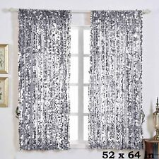 "2 pcs Silver 52"" x 64"" Big Payette Sequin Window CURTAINS Drapes Panels Backdrop"