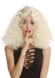 Perücke Damen lockig Mittelscheitel Hellblond breites Stirnband rot Hippie Engel