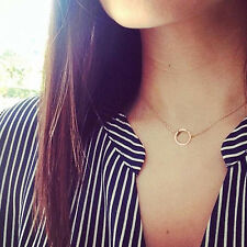 New Fashion Gold Simple Thin Chain Necklace with Ring Pendant Ring Circle Gift