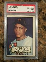 🔥 1952 Topps Willie Mays #261 PSA 6 Excellent Mint Baseball Rookie RC HOF 🔥