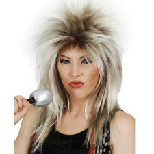 W596 80s Spiked Glam Rock Star Queen Tina Turner Wig Punk Layered Diva Mullet