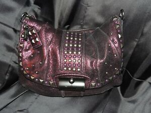 COACH Kristin Purple Boysenberry Metallic Studded Flap Hobo Shoulder Bag