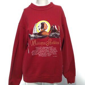 VINTAGE 1993 NUTMEG MILLS Washington REDSKINS Red Long Sleeve Women's Sweatshirt