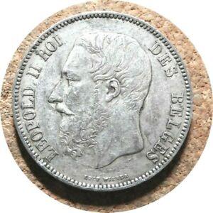 elf Belgium 5 Francs 1873  Leopold II  Silver  ub07