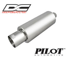 """DC Sports Universal Stainless Steel Exhaust Muffler 2.5"""" Inlet 4"""" Outlet"""