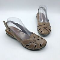 Bare Traps Dayla Women Brown Leather Slingback Sandal Shoe Size 7.5M Pre Owned