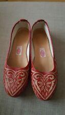 Marocain rouge fait main Plat Chaussures
