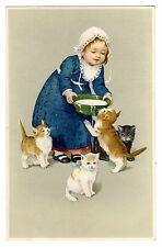 POSTCARD CATS SURROUND GIRL WITH BOWL OF MILK FLATSCHER 1914