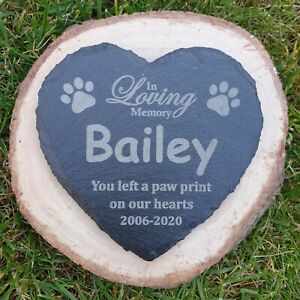 Personalised Dog Memorial Heart Slate Sign, Plaque, Tombstone, Grave Marker