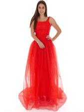 Richard Kravetz Kleid Abendkleid Red-Carpet rot Tüll Falten weit