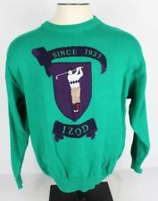 Vtg Izod Mens L Cotton Crew Neck Green Sweater Large Golfer Golf Embroidered