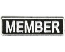 "MEMBER 3.5"" x 1"" iron on patch (3707) Biker Club Rank Title"