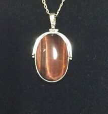 Sterling Silver and Tiger's eye Large Statement Pendant