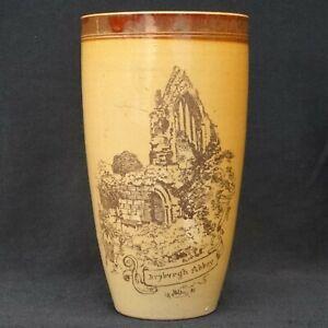 "Antique DOULTON Lambeth Stoneware Beaker Vase ""Dryburgh Abbey"" c1885 14cm"