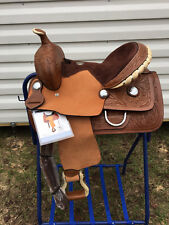 "13"" Western Brown Leather Youth Pony Barrel Horse Saddle w Rawhide Cantle FQHB"