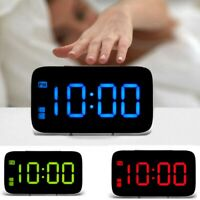 USB LED Digital Alarm Clock Snooze Large LCD Display Battery Power Voice Control