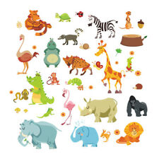 Jungle Animals Wall Stickers for Kids Room Baby Home Decor Monkey Elephant Horse