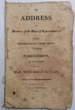 An Address Members House Of Representatives War Great Britian 1812