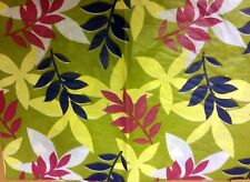 """THIN FLANNEL BACK Vinyl Tablecloth 60"""" ROUND, COLORFUL LEAVES on GREEN, BH"""