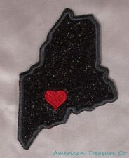 Embroidered Black Glitter Sparkle Maine ME Love State Patch Iron On Sew On USA
