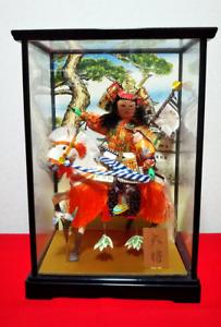 Vintage Japanese doll Samurai warrior riding on horse in Armor Helmet glass case