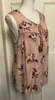 Knox Rose Floral Rayon Sleeveless Boho Hippie Tunic Top Size L NWT
