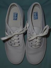 Women's Keds White Leather Sneakers Tennis Shoes Size 7 1/2 B Pre - Owned No Box