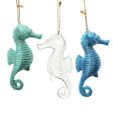 HAND PAINTED SET OF 3 SEAHORSE COASTAL NAUTICAL XMAS ORNAMENTS w/ GLITTER DETAIL