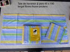TAIE DE TRAVERSIN 2 PERSONNES 45 X 190 a rayures  bleu vert jaune neuf