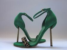Sergio Rossi Studded Juno Suede Sandals Green/Leopard Women's 9