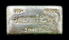 Vintage Engelhard 10oz .999 Pure Silver Poured Bar BULL LOGO Serial # 194072