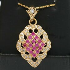 Gorgeous Red Ruby Necklace Women Anniversary Jewelry Gift 14K Yellow Gold Plated