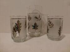 Vintage Libbey Silver Foliage Leaf Cocktail Pitcher 2 Beverage Glasses 12 Oz (S4