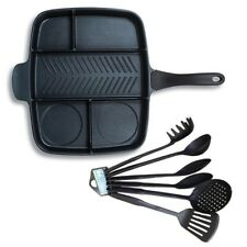 Multi Pan Non-Stick Multi-Section 5-in-1 Frying Pan with Kitchen Utensil 6PC
