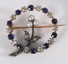 Fine Old Antique Victorian ? 14K Gold Diamond Pearls & Blue Stone Pin ca. 1900 ?