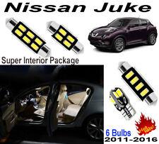 6pcs Fit Nissan Juke 2011-2016 Xenon White 5630 LED Interior Light Kit Package