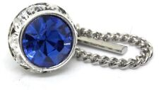 SAPHIRE CRYSTAL TIE TACK  RHODIUM PLATED