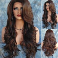 70cm Synthetic Long Curly Wig Side Part Mixed Color Heat Resistant Hair Casual