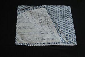 Handmade White & Blue Indian Kantha Quilt Cotton Floral Blanket Hand Block Barmi
